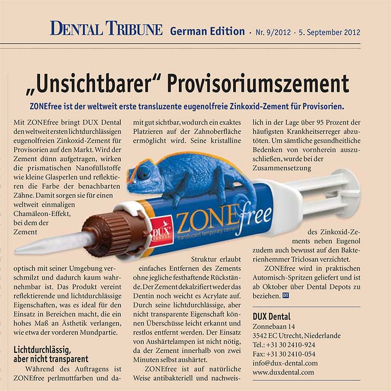 Praxismarketing – PR Dentalzement in Dental Tribune