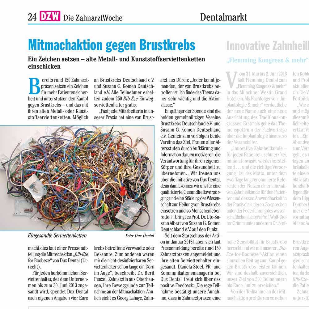 Praxismarketing – PR Brustkrebsaktion in DZW