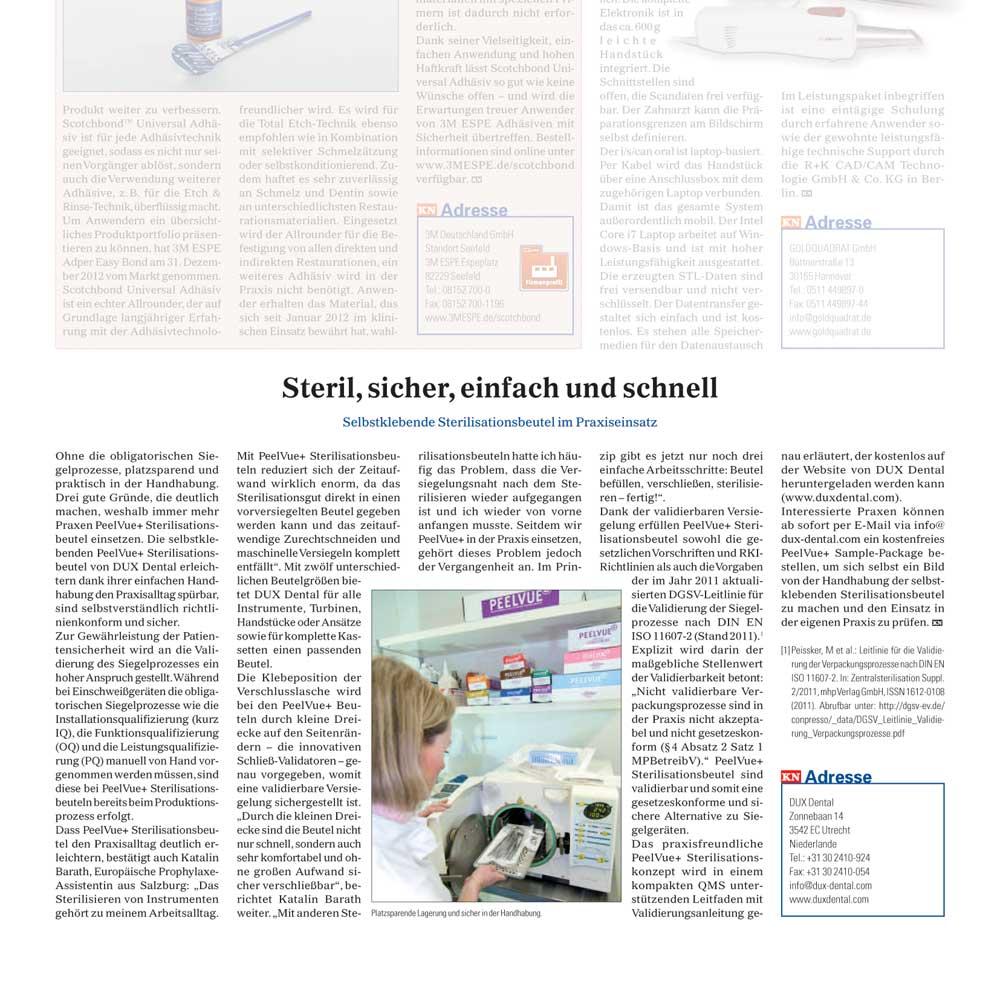 Praxismarketing – PR Hygiene in Kieferorthopädische Nachrichten
