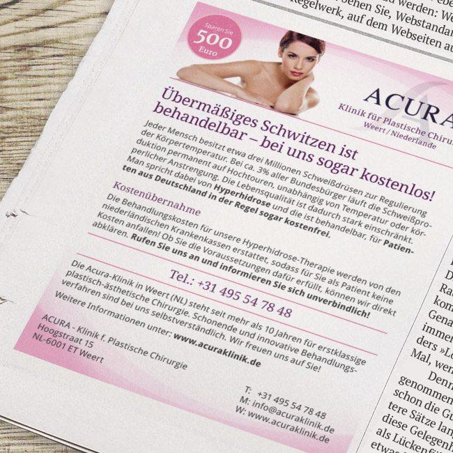 Praxismarketing – Acuraklinik Anzeige